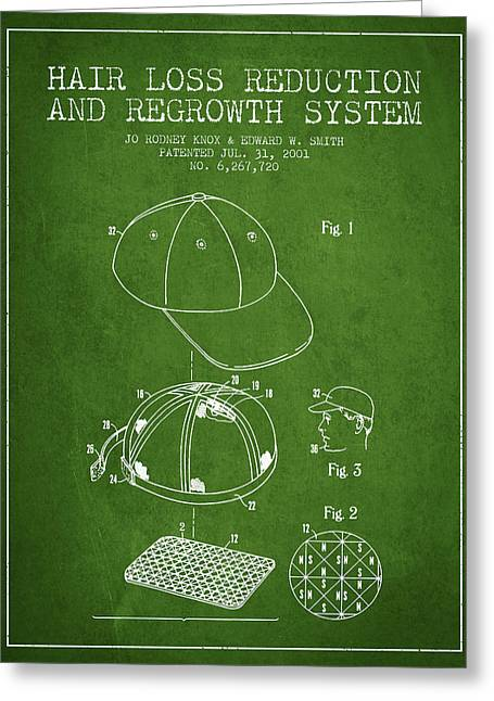 Hair Loss Reduction And Regrowth System Patent - Green Greeting Card by Aged Pixel