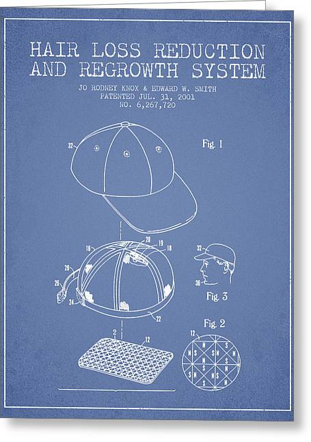 Hair Loss Reduction And Regrowth System Patent - Light Blue Greeting Card