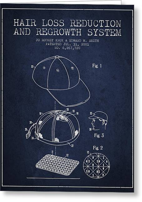 Hair Loss Reduction And Regrowth System Patent - Navy Blue Greeting Card