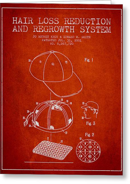 Hair Loss Reduction And Regrowth System Patent - Red Greeting Card by Aged Pixel