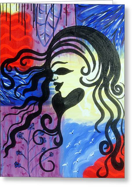 Hair Silhouette Greeting Card by Lorinda Fore