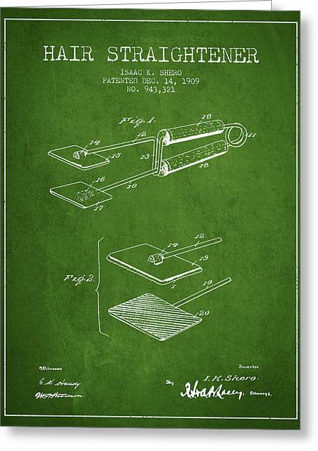 Hair Straightener Patent From 1909 - Green Greeting Card by Aged Pixel