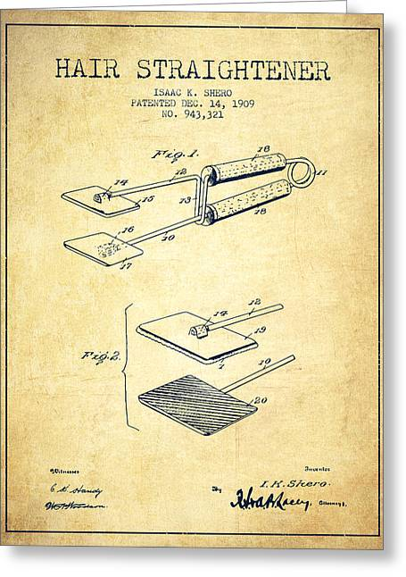 Hair Straightener Patent From 1909 - Vintage Greeting Card by Aged Pixel
