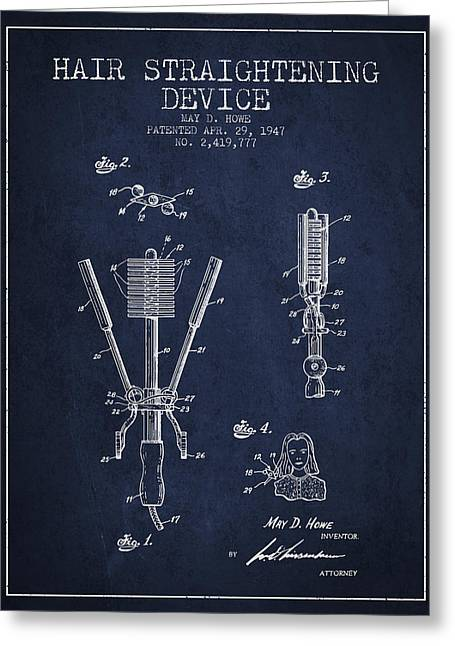 Hair Straightening Device Patent From 1947 - Navy Blue Greeting Card by Aged Pixel