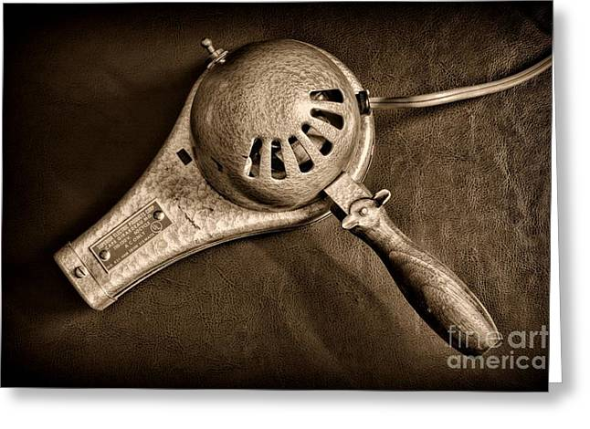 Hair Stylist - Vintage Hair Dryer - Black And White Greeting Card by Paul Ward