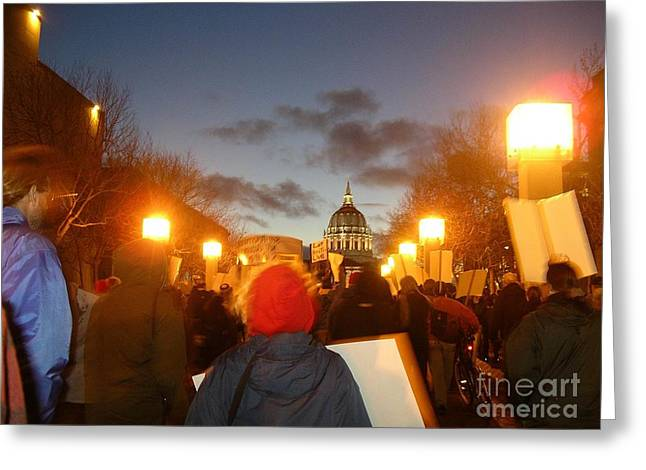 Greeting Card featuring the photograph Haiti Protest by Cynthia Marcopulos