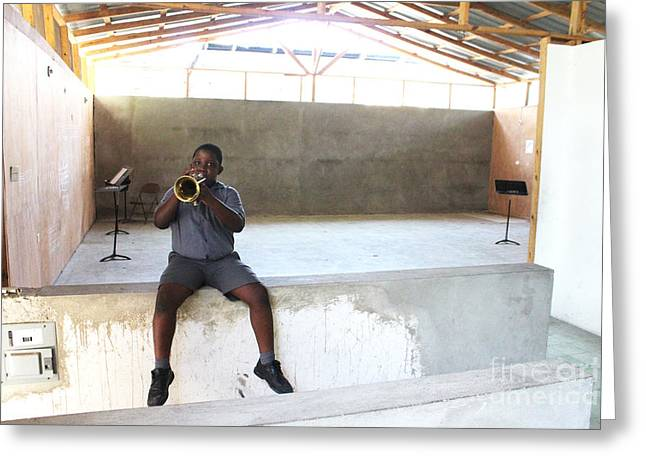 Haitian Boy Plays Trumpet Greeting Card by Jim Wright