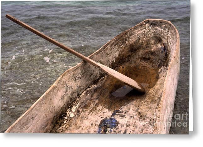 Haitian Dugout Canoe Greeting Card by Anna Lisa Yoder