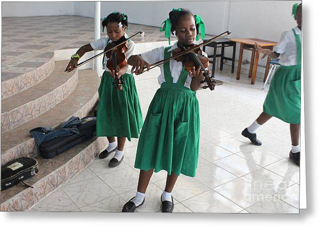 Haitian Girls Play Violins Greeting Card by Jim Wright