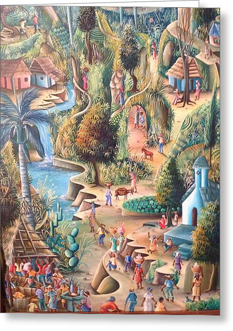 Greeting Card featuring the painting Haitian Village by Dimanche from Haiti