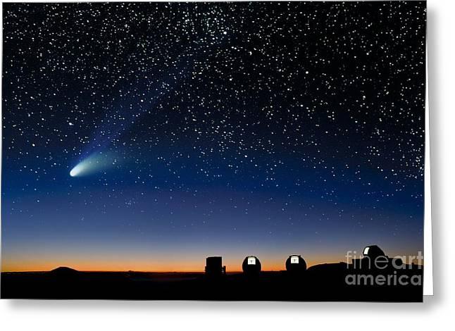 Hale Bopp And Observatories, Hawaii Greeting Card by David Nunuk