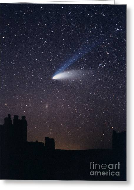 Hale-bopp Comet And Andromeda Greeting Card by John Chumack