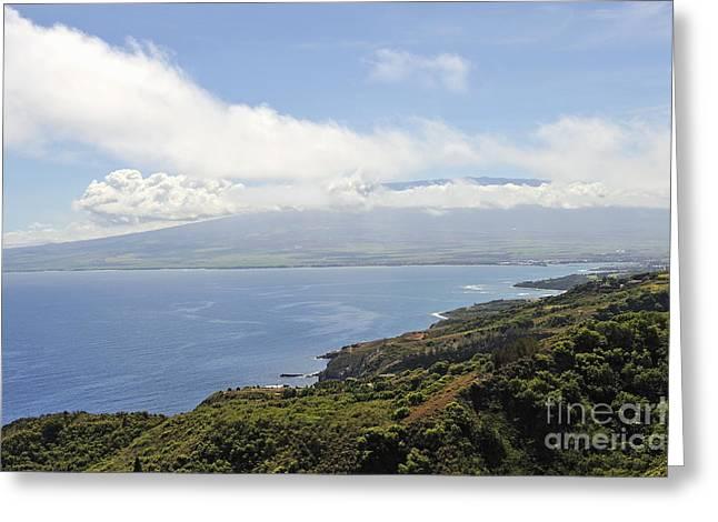 Haleakala Volcano And Coastline Greeting Card by Sami Sarkis