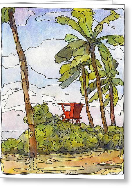Haleiwa Lifeguard Tower 1 Greeting Card by Stacy Vosberg