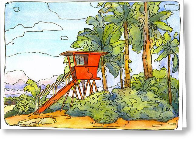 Haleiwa Lifeguard Tower 2 Greeting Card by Stacy Vosberg