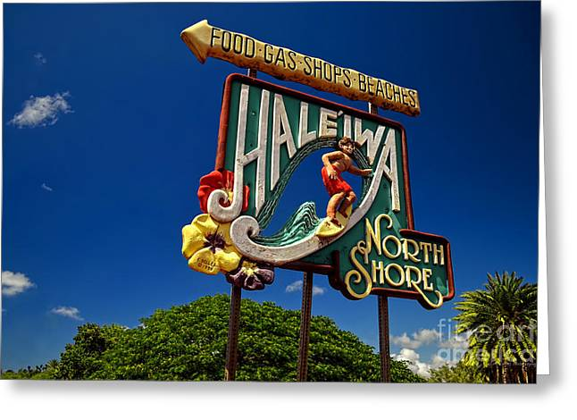 Haleiwa Sign On The North Shore Of Oahu Greeting Card