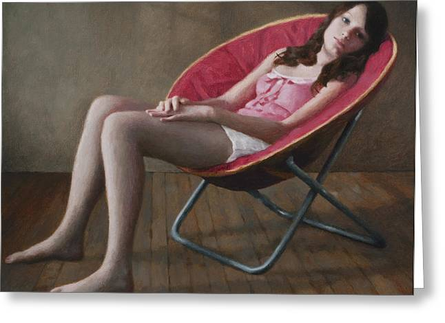 Haley In A Round Chair Greeting Card by Charles Pompilius