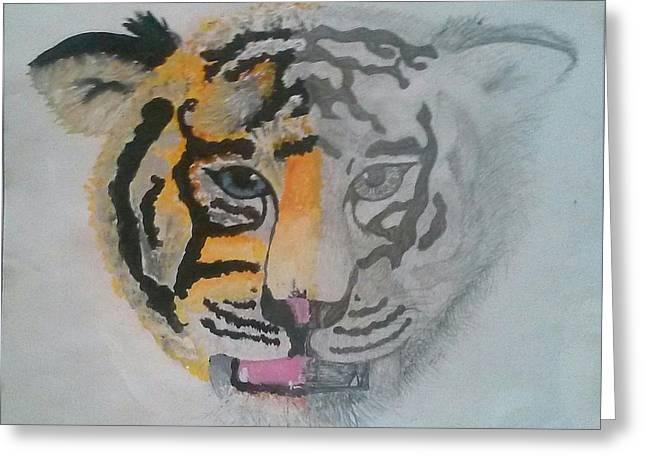 Half And Half Tiger Greeting Card by Kendya Battle