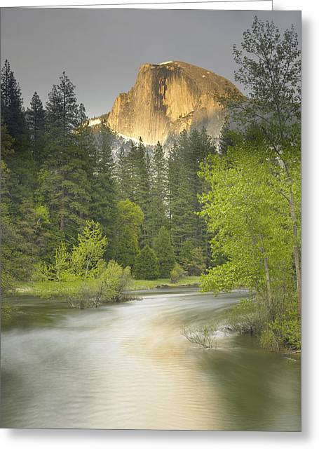 Half Dome And The Merced River At Sunset Greeting Card