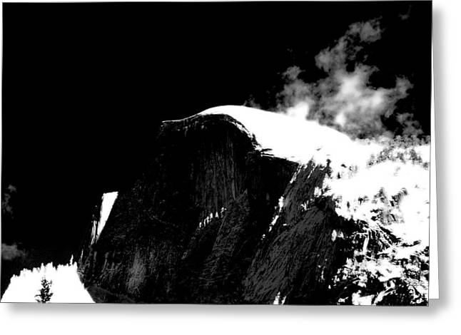 Half Dome In Winter Bw Greeting Card