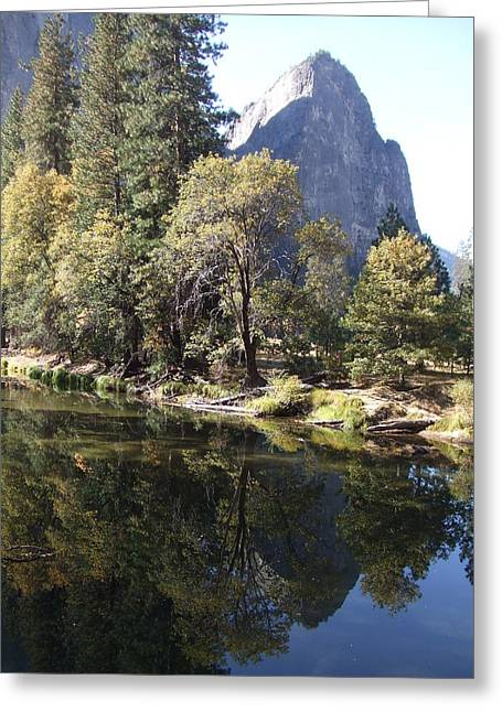 Greeting Card featuring the photograph Half Dome Reflection by Richard Reeve