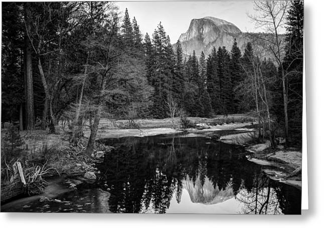 Half Dome - Yosemite In Black And White Greeting Card