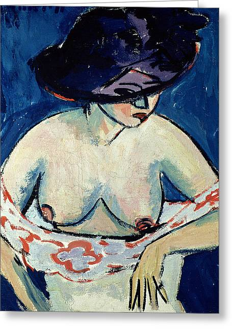 Half Naked Woman With A Hat Greeting Card by Ernst Ludwig Kirchner