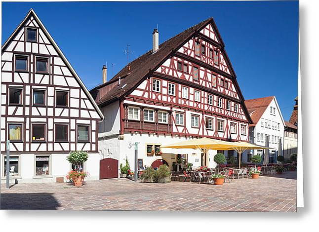 Half-timbered House And Bell Tower Greeting Card by Panoramic Images