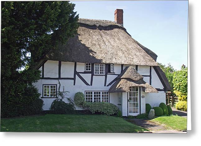 Half-timbered Thatched Cottage Greeting Card by Jayne Wilson