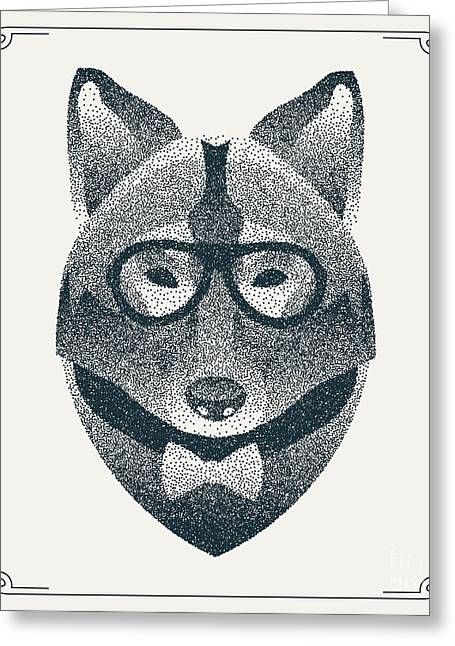 Halftone, Dotwork Hipster Wolf With Greeting Card