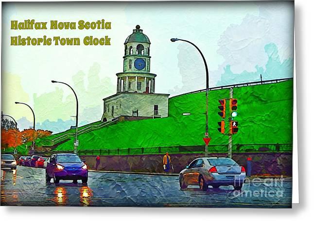 Halifax Historic Town Clock Poster Greeting Card by Halifax photographer John Malone