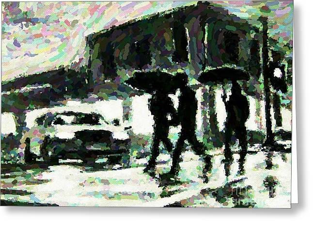 Halifax In The Rain One Greeting Card by John Malone