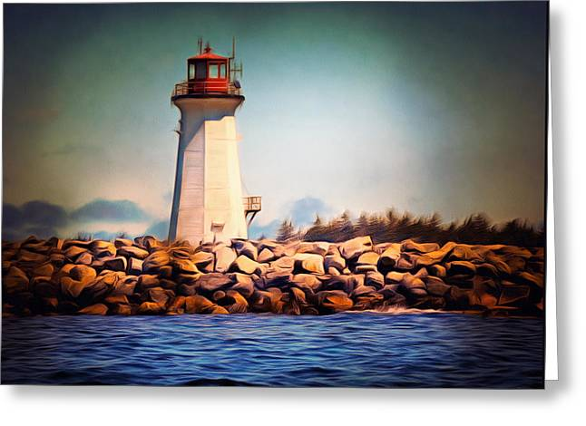 Halifax Lighthouse Nova Scotia Greeting Card by Georgiana Romanovna