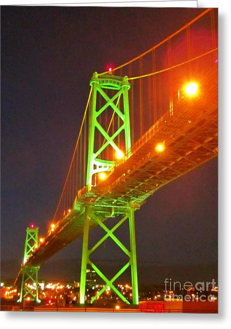 Halifax Macdonald Bridge At Night Greeting Card by John Malone