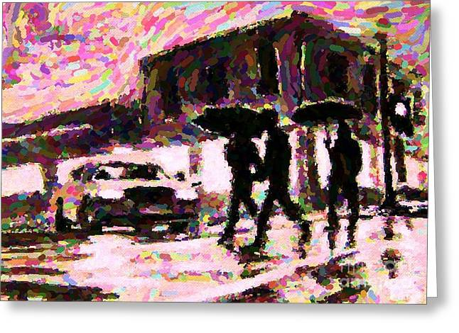 Halifax Nova Scotia On In The Rain Greeting Card by John Malone johnmaloneartistcom