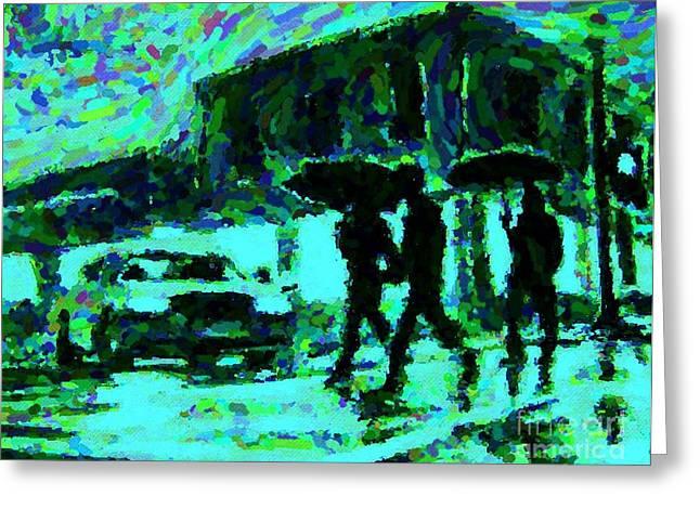 Halifax On A Rainy Night Greeting Card by Halifax Artist John Malone