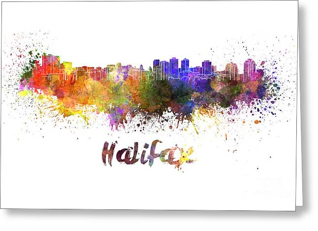 Halifax Skyline In Watercolor Greeting Card by Pablo Romero