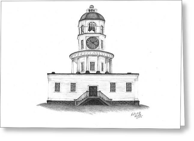 Halifax Town Clock Greeting Card by Patricia Hiltz