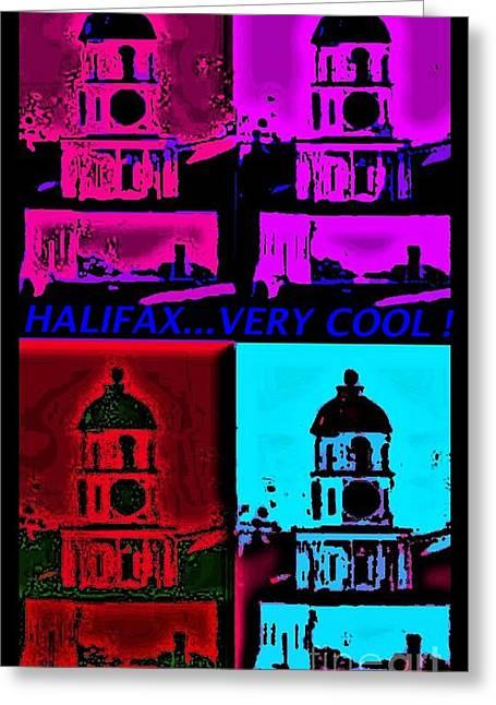 Halifax Very Cool Pop Art Greeting Card by John Malone