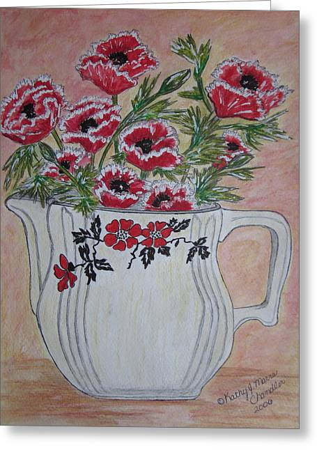 Hall China Red Poppy And Poppies Greeting Card by Kathy Marrs Chandler