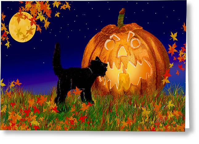 Halloween Black Cat Meets The Giant Pumpkin Greeting Card