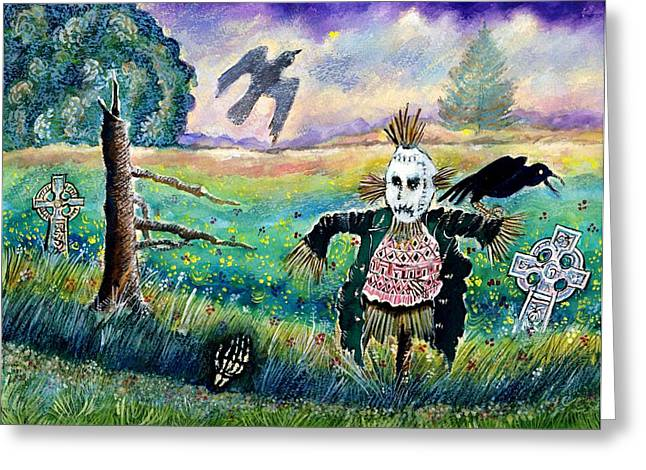 Halloween Field With Funny Scarecrow Skeleton Hand And Crows Greeting Card by Ion vincent DAnu