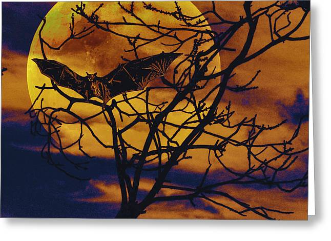 Greeting Card featuring the painting Halloween Full Moon Terror by David Mckinney