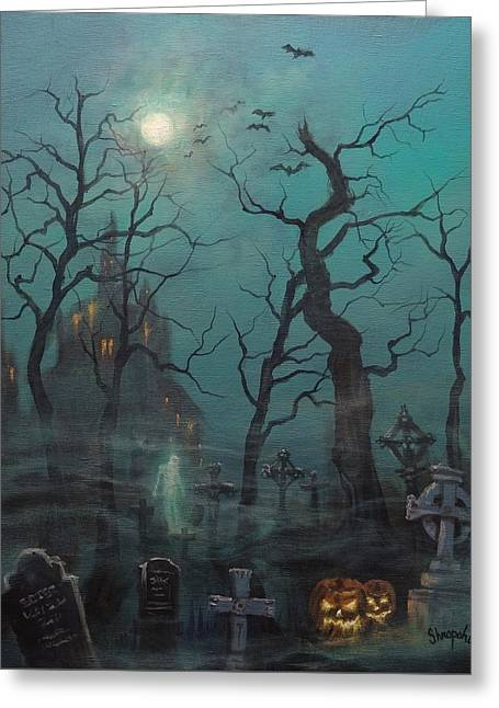 Halloween Ghost Greeting Card by Tom Shropshire