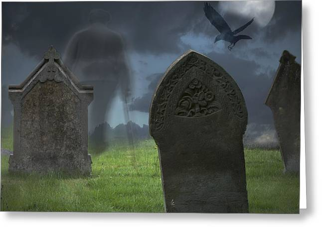 Halloween Graveyard Greeting Card by Amanda Elwell