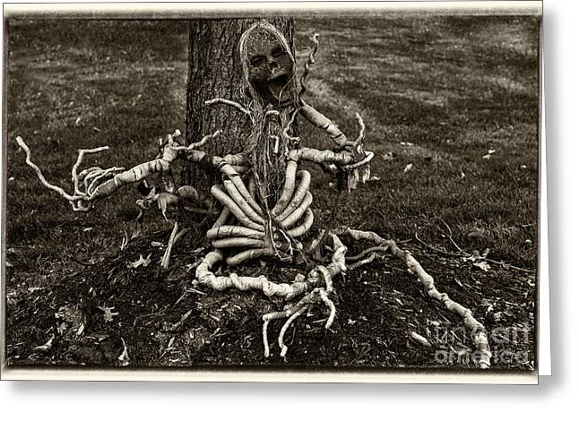 Halloween Green Skeleton Black And White Greeting Card