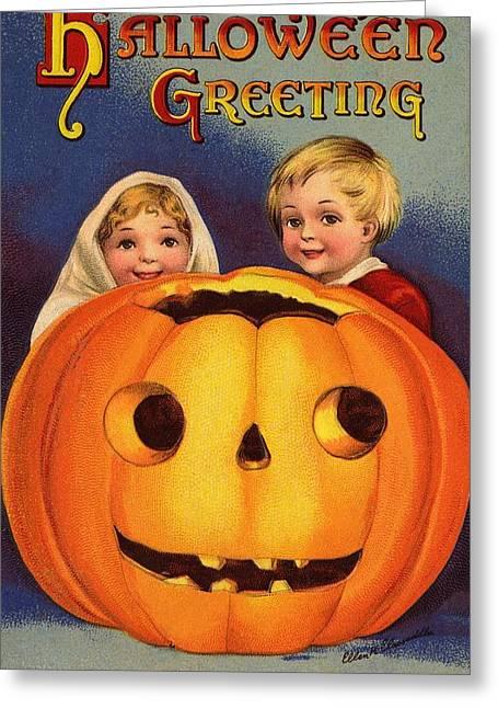 Halloween Greeting Greeting Card by Ellen Hattie Clapsaddle