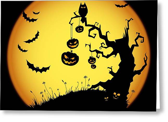 Halloween Haunted Tree Greeting Card by Gianfranco Weiss