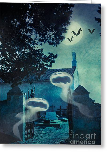 Halloween Illustration With Evil Spirits Greeting Card by Mythja  Photography
