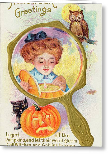 Hallowe'en Magic - Lighting Greeting Card by Mary Evans Picture Library